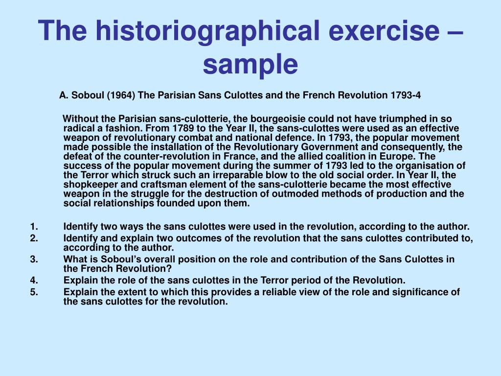 The historiographical exercise – sample