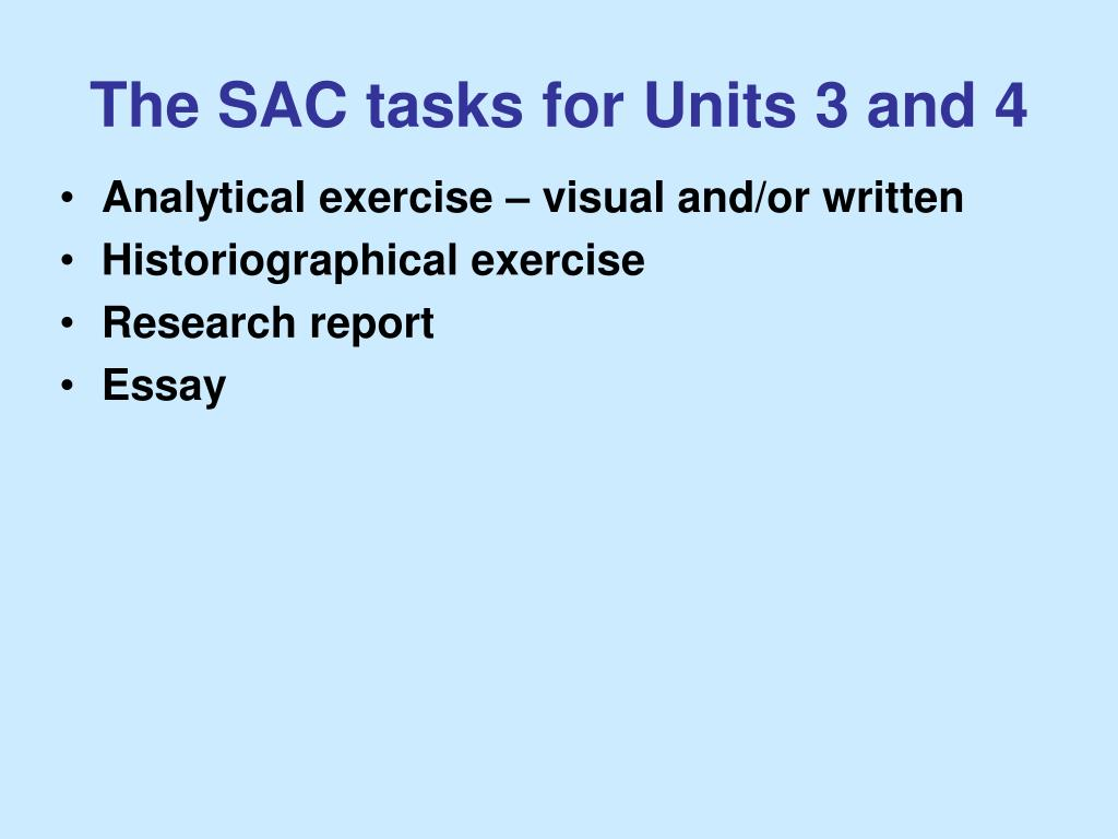 The SAC tasks for Units 3 and 4