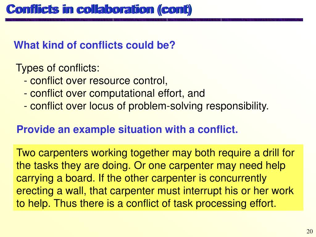 Conflicts in collaboration (cont)