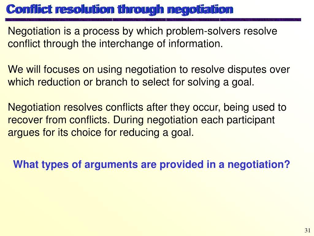 Conflict resolution through negotiation