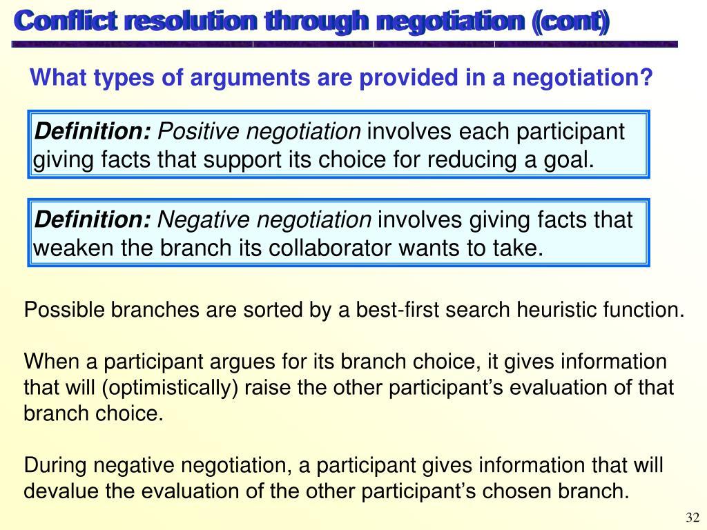Conflict resolution through negotiation (cont)