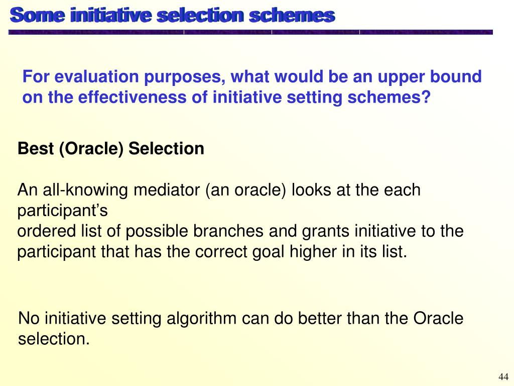 Some initiative selection schemes