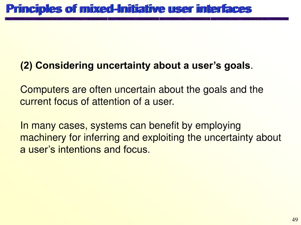 Principles of mixed-Initiative user interfaces
