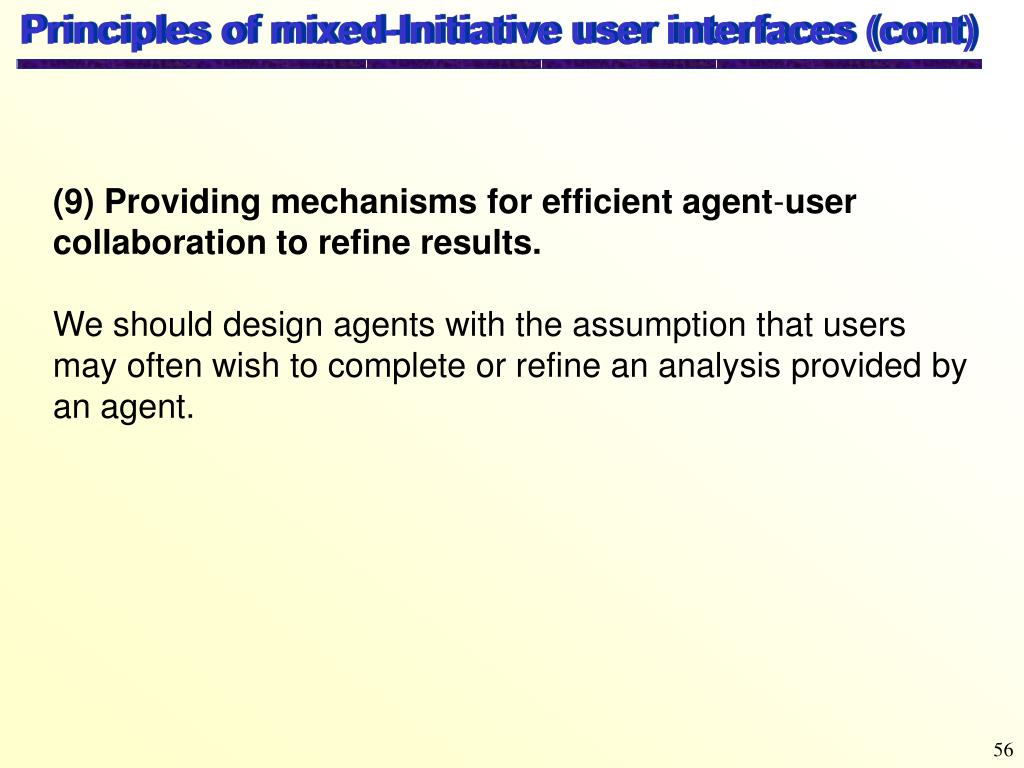 Principles of mixed-Initiative user interfaces (cont)