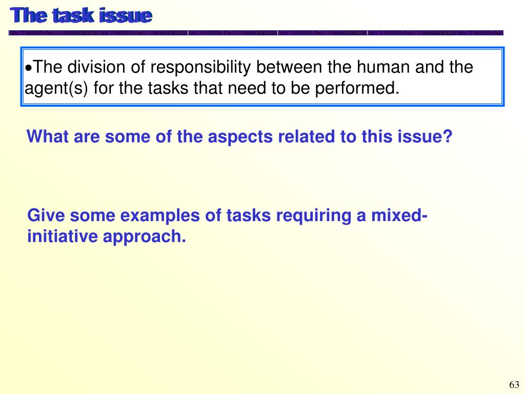The task issue