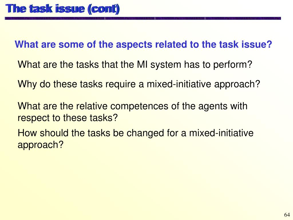 The task issue (cont)
