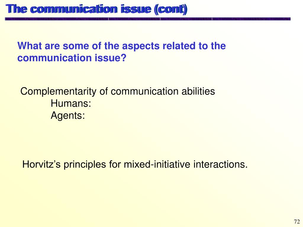 The communication issue (cont)
