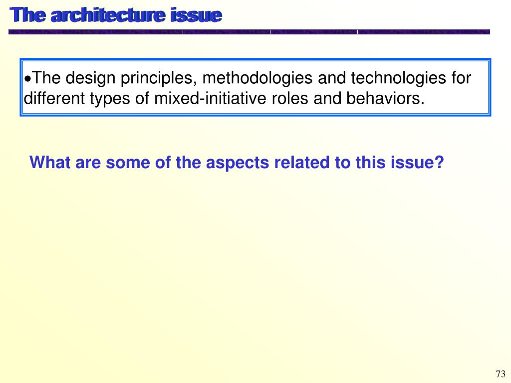 The architecture issue