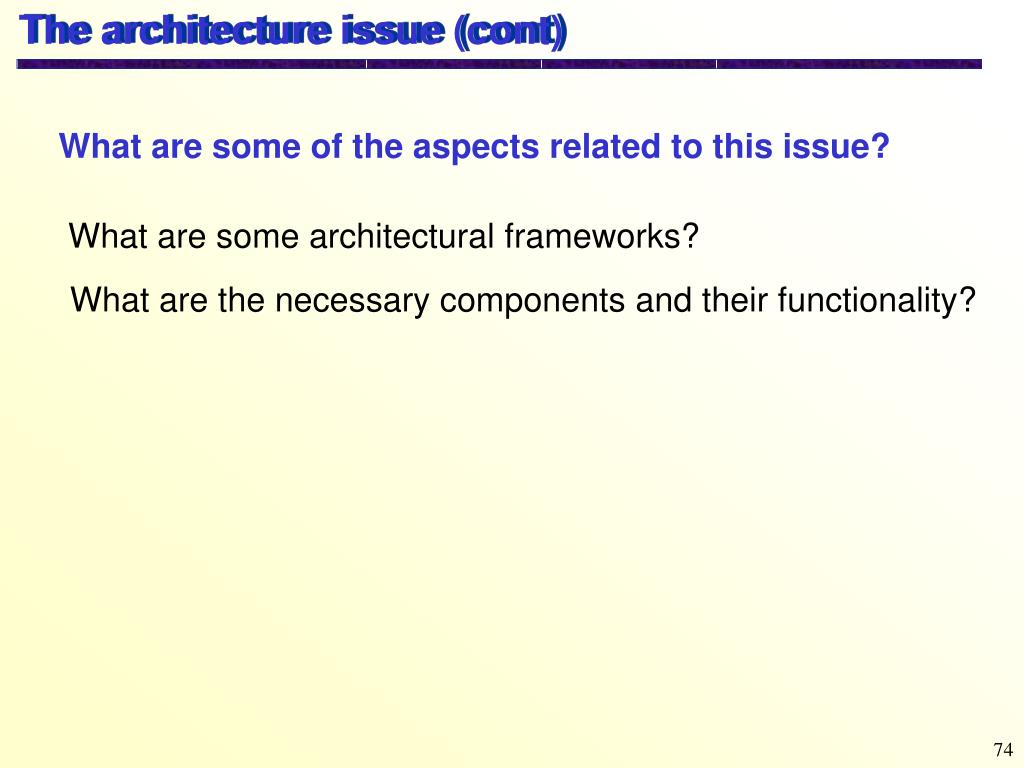 The architecture issue (cont)