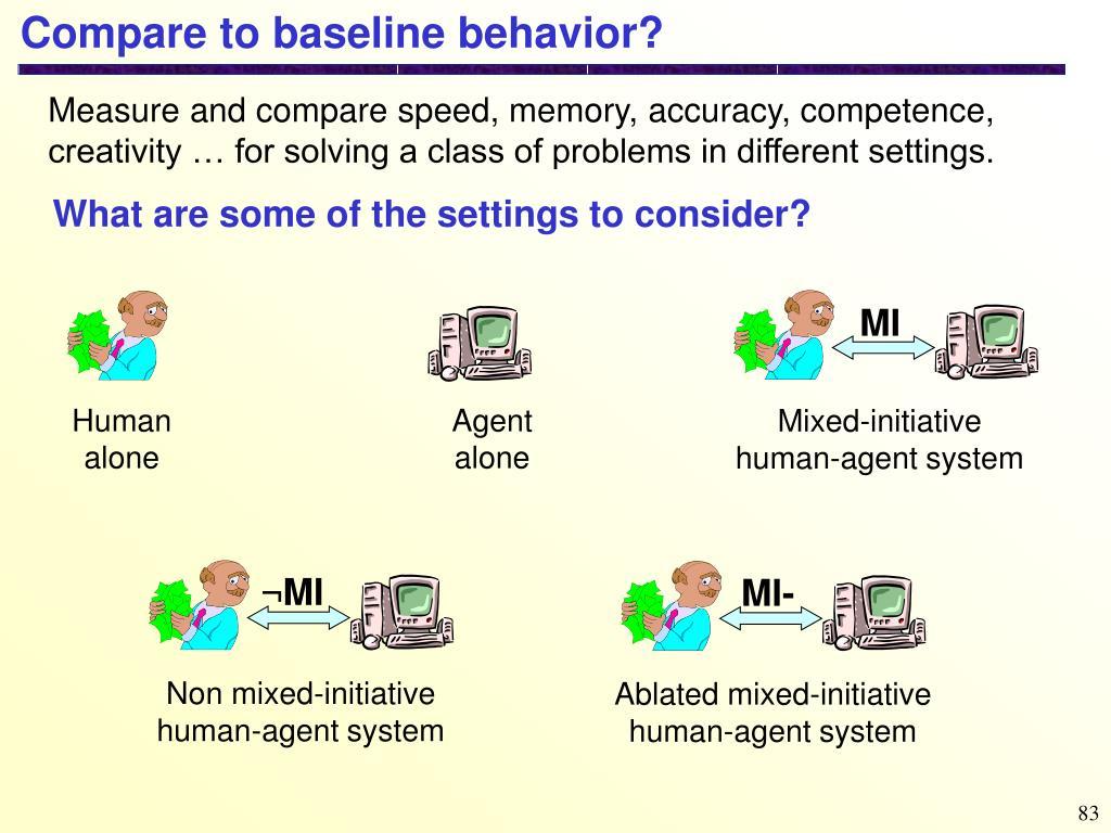 Compare to baseline behavior?