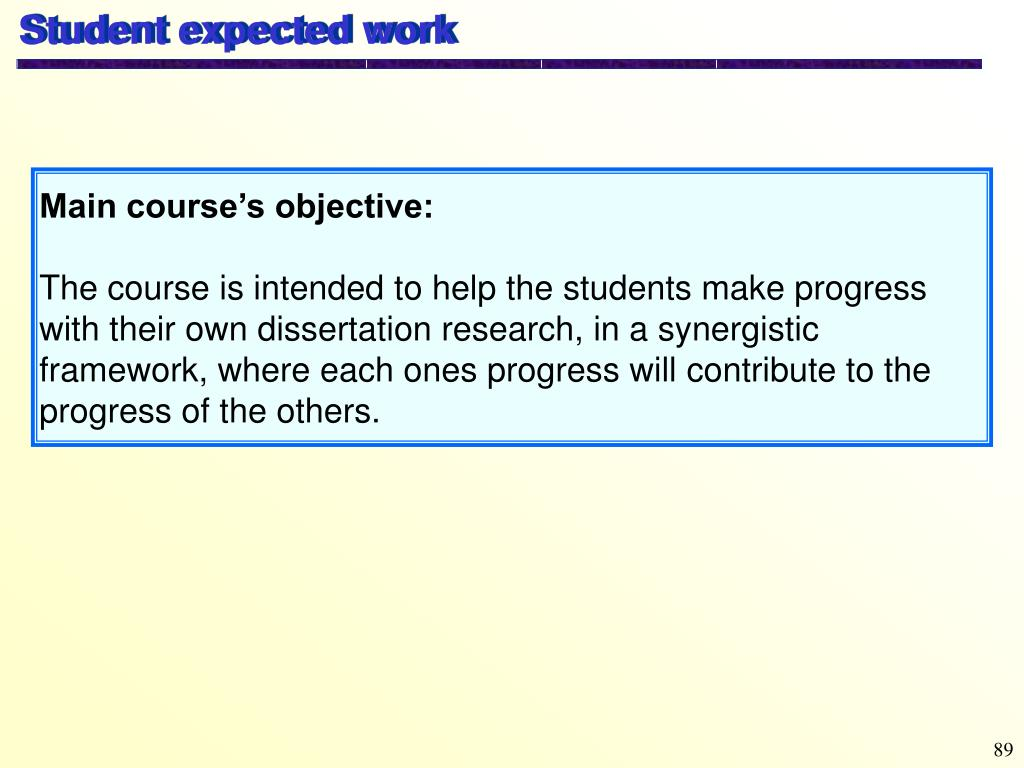 Student expected work