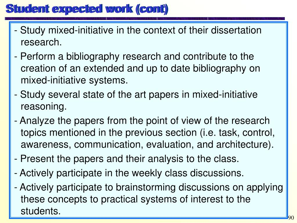Student expected work (cont)