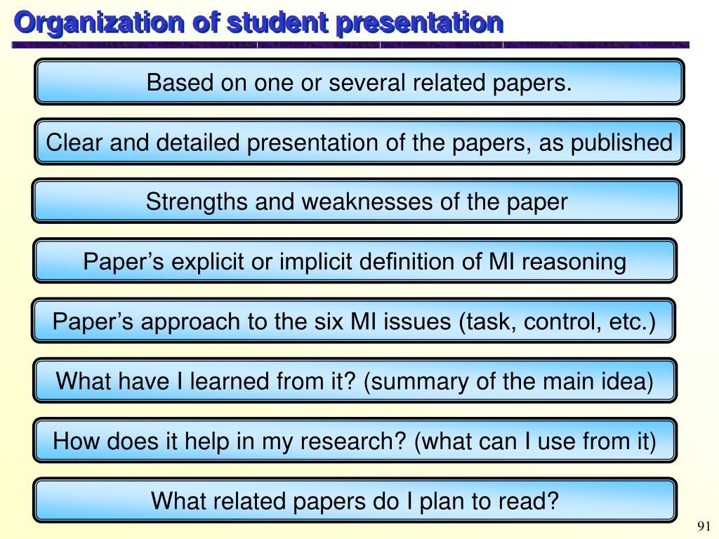 Organization of student presentation