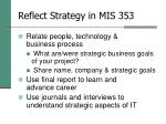 reflect strategy in mis 353