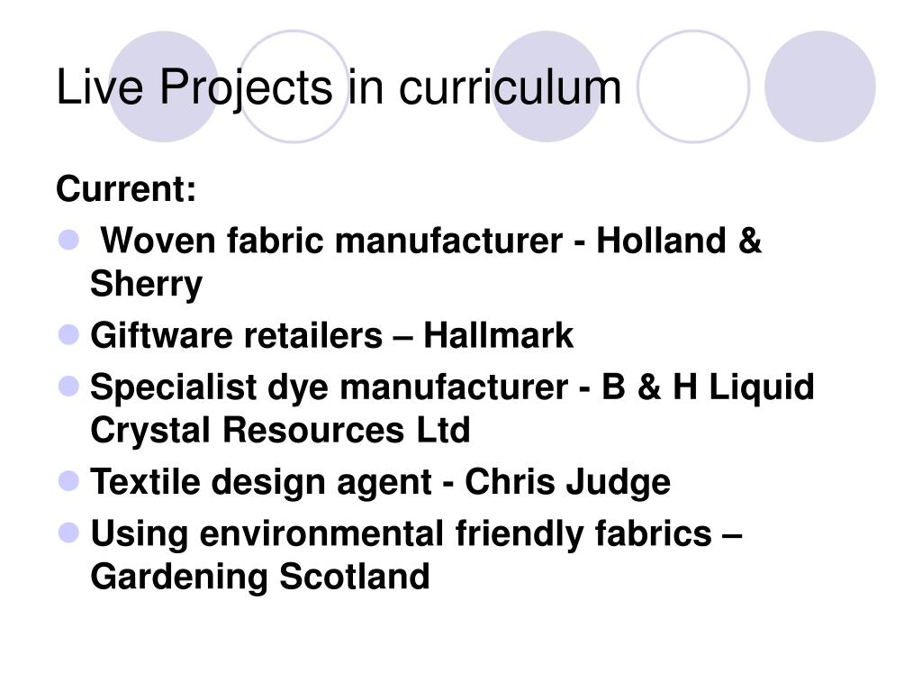 Live Projects in curriculum
