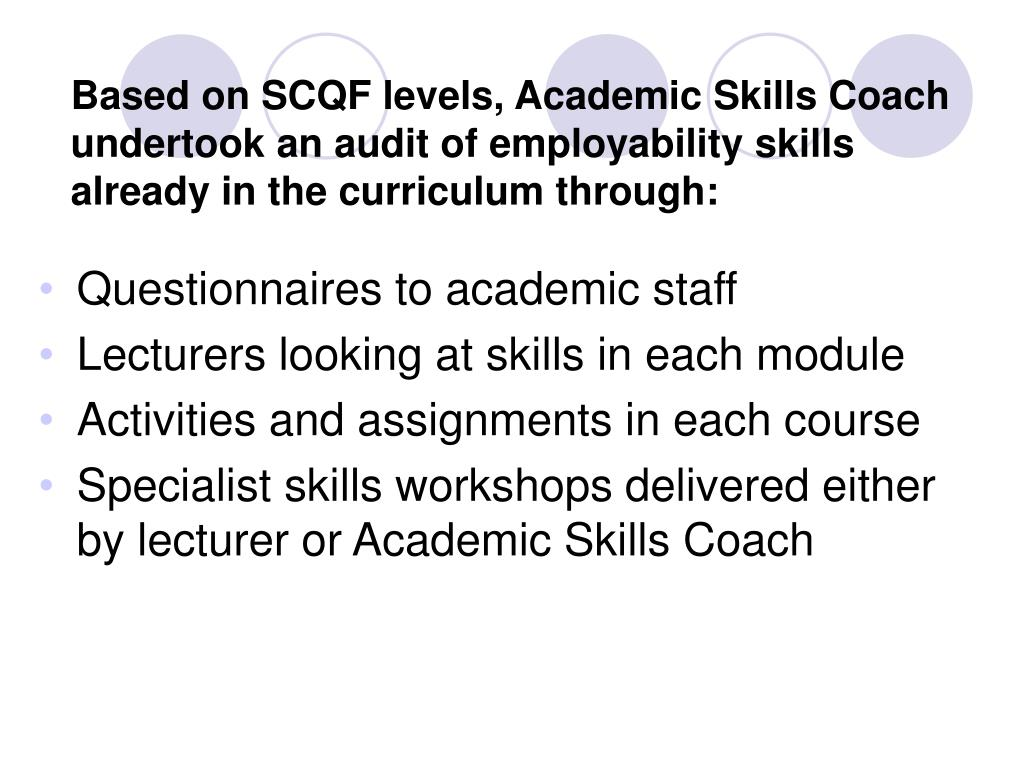 Based on SCQF levels, Academic Skills Coach undertook an audit of employability skills already in the curriculum through: