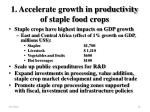 1 accelerate growth in productivity of staple food crops