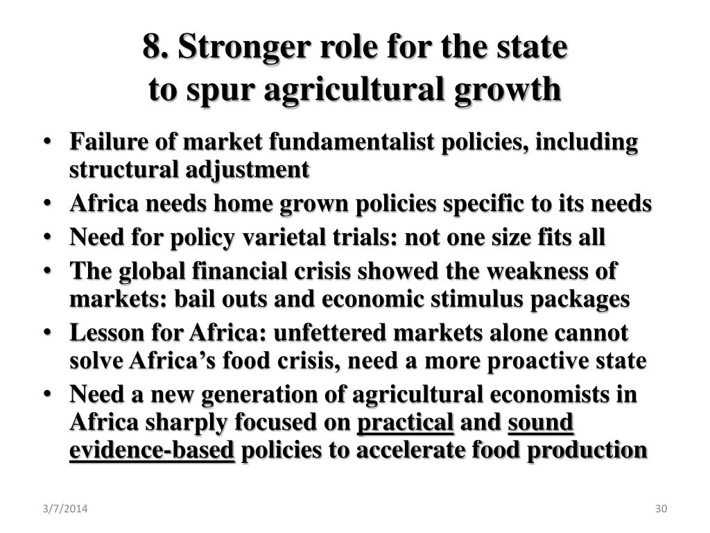8. Stronger role for the state