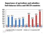 importance of agriculture and subsidies sub saharan africa and oecd countries