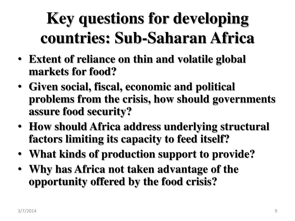 Key questions for developing countries: Sub-Saharan Africa