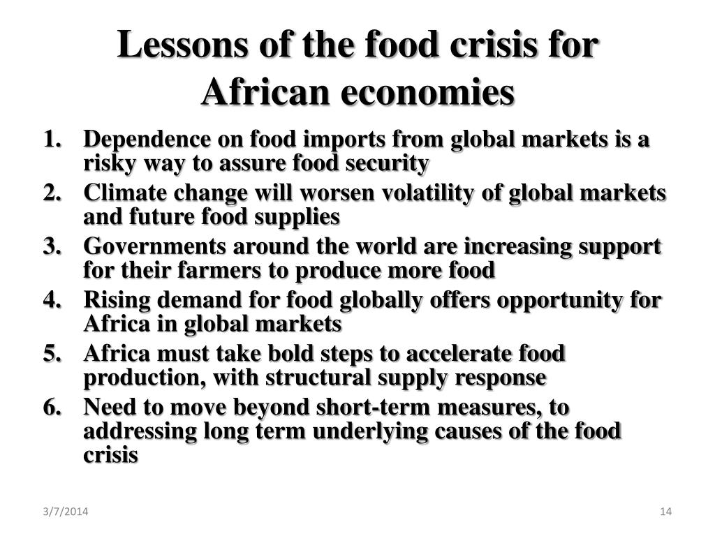 Lessons of the food crisis for