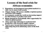 lessons of the food crisis for african economies