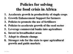 policies for solving the food crisis in africa