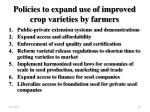 policies to expand use of improved crop varieties by farmers