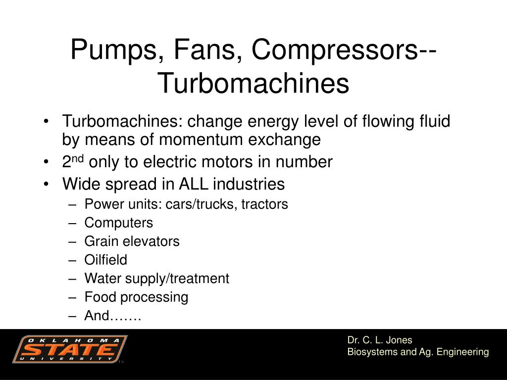 Pumps, Fans, Compressors--Turbomachines