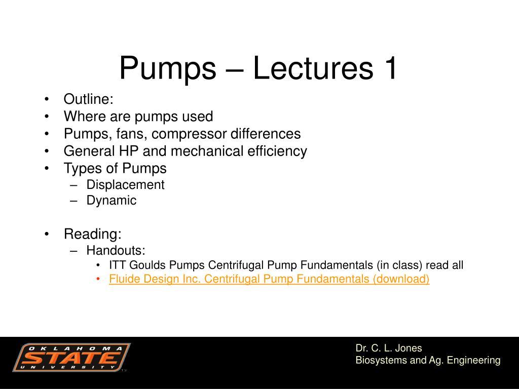 Pumps – Lectures 1