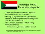 challenges the au faces with integration