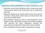 general requirements for storage cont