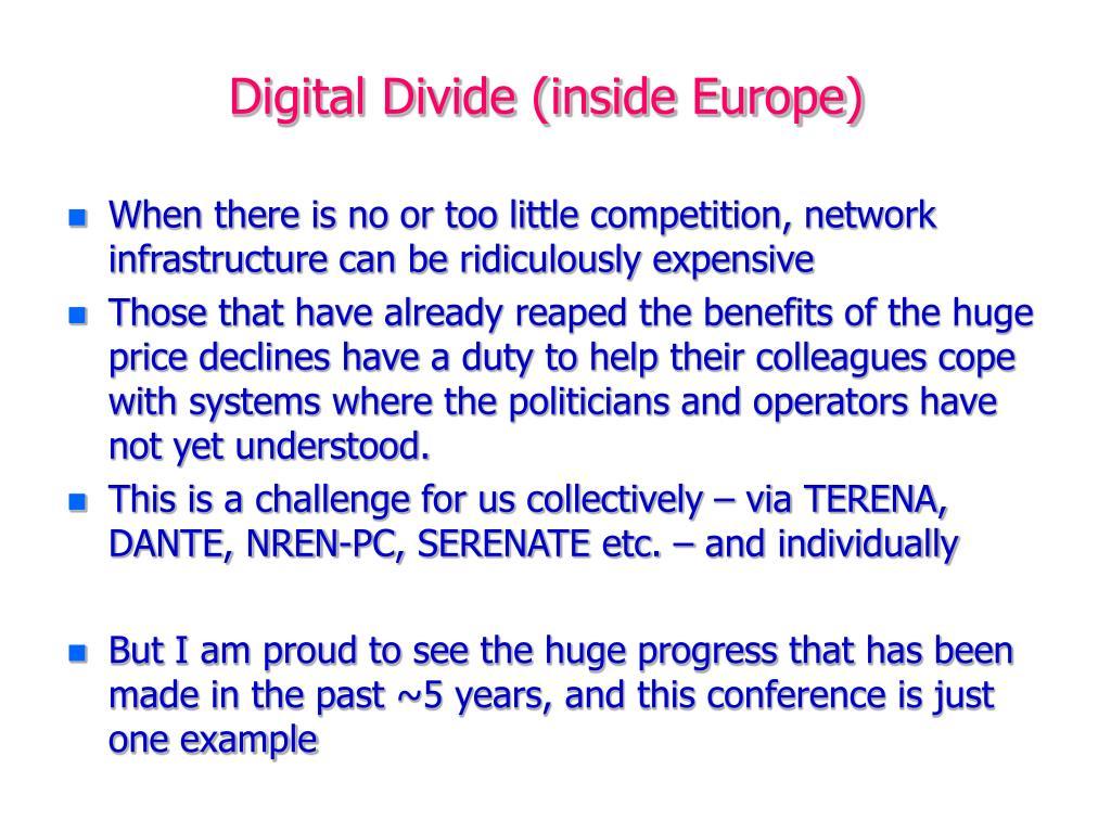 Digital Divide (inside Europe)
