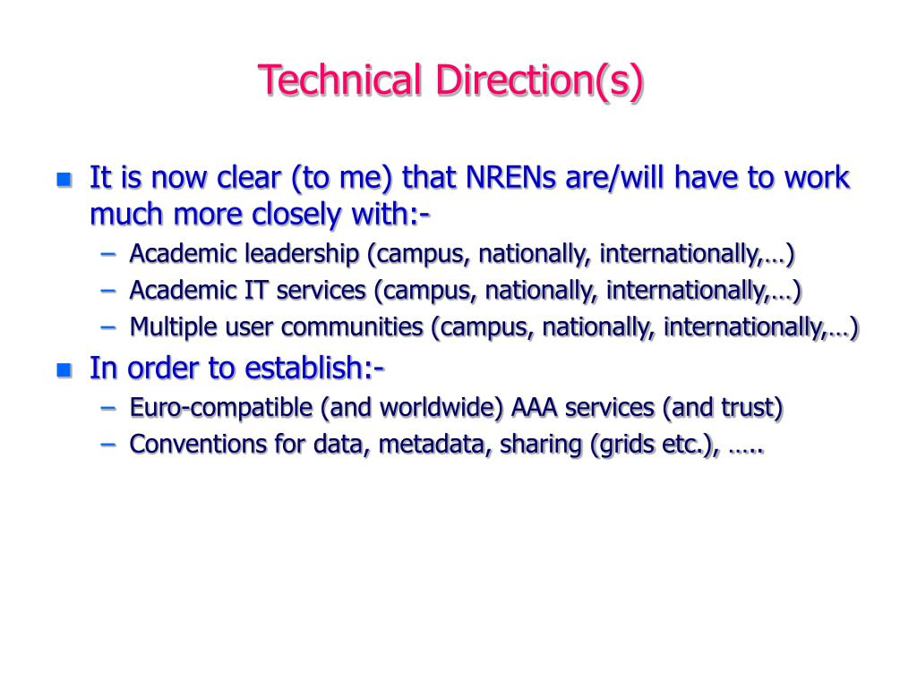 Technical Direction(s)