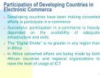 participation of developing countries in electronic commerce