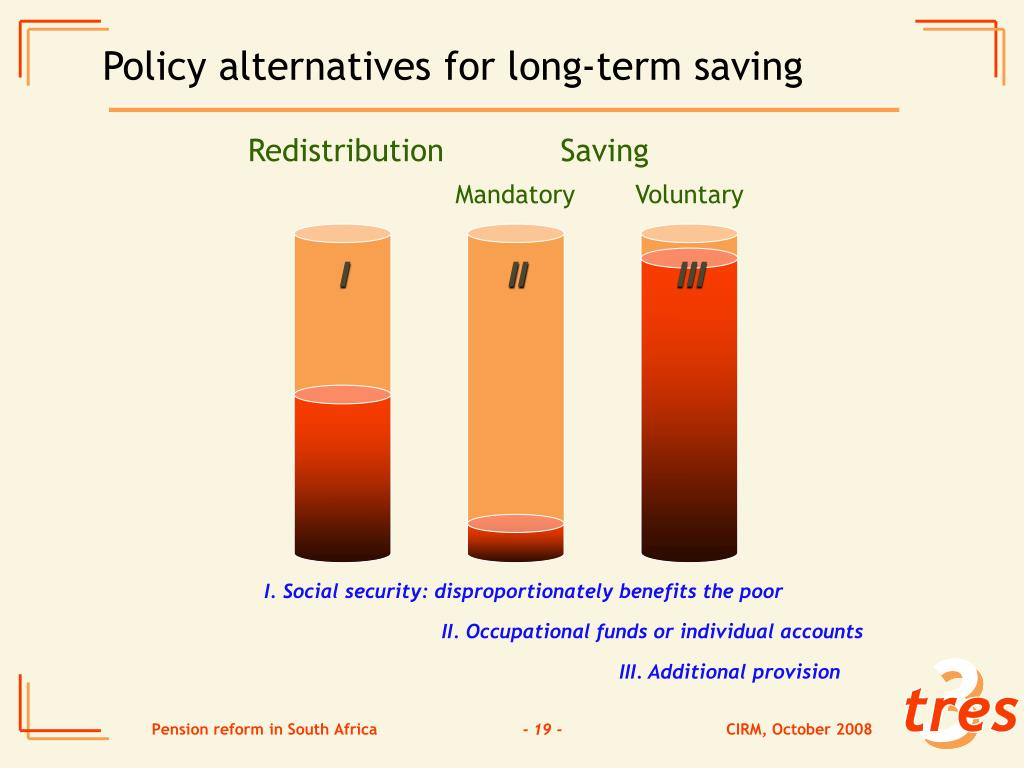 Policy alternatives for long-term saving