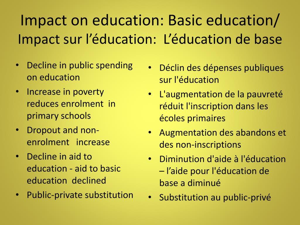 Impact on education: Basic education/