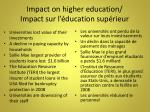 impact on higher education impact sur l ducation sup rieur