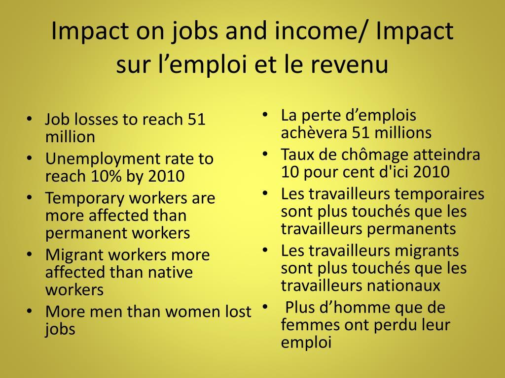 Impact on jobs and income/ Impact sur l'emploi et le revenu