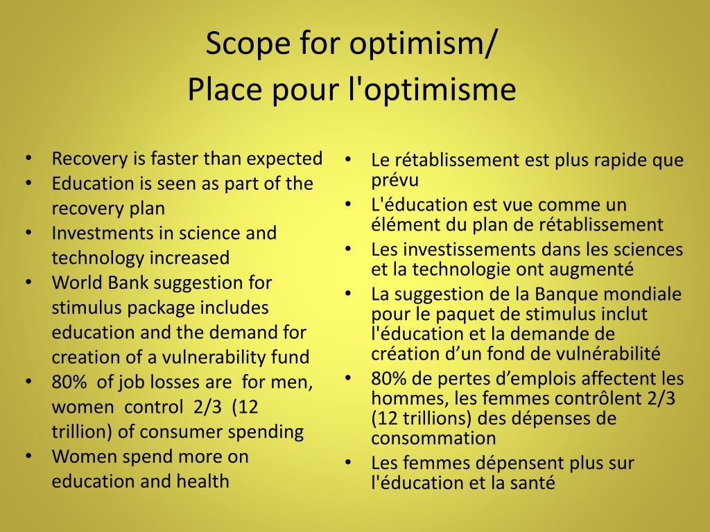 Scope for optimism/