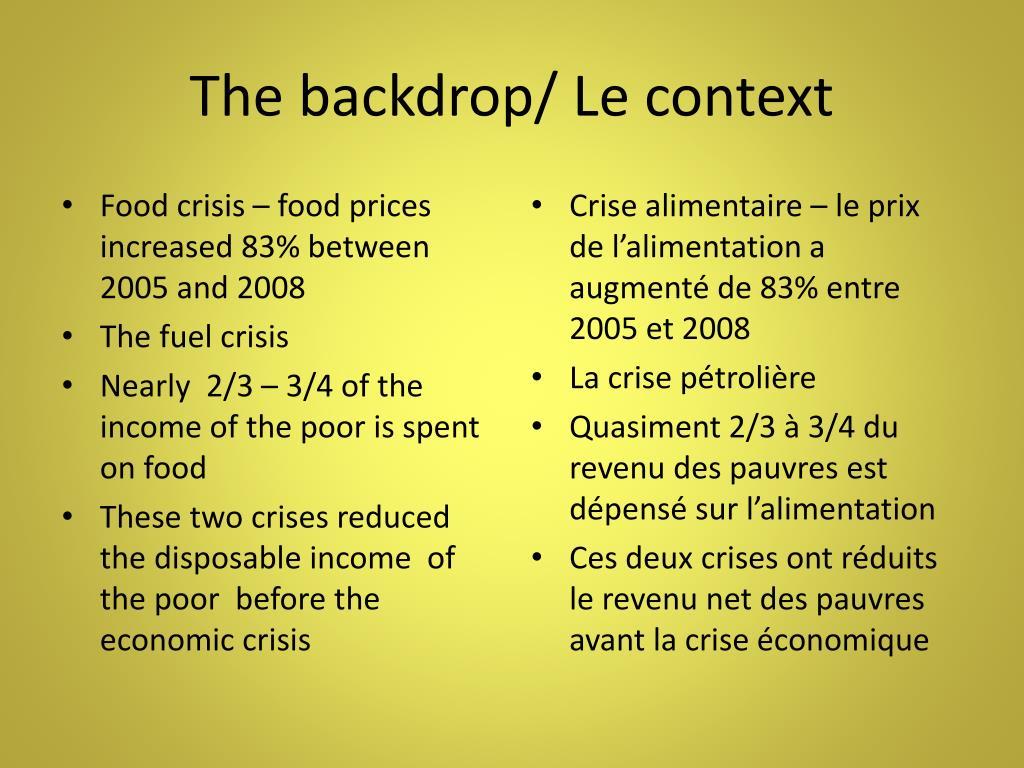 The backdrop/ Le context