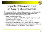 impacts of the global crisis on asia pacific economies