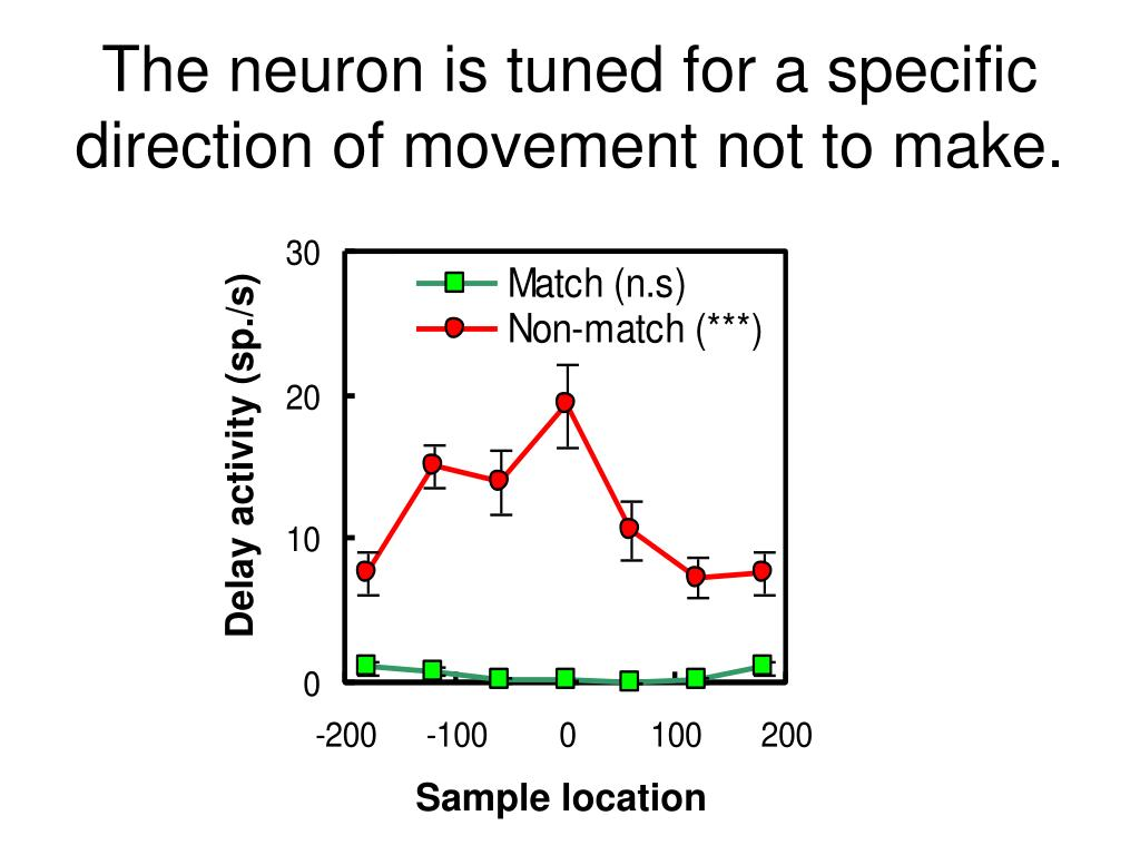 The neuron is tuned for a specific direction of movement not to make.