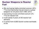 nuclear weapons to reactor fuel