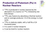 production of plutonium pu in nuclear reactors