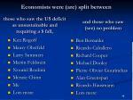 economists were are split between