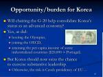 opportunity burden for korea
