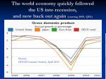 the world economy quickly followed the us into recession and now back out again starting 2009 qiii
