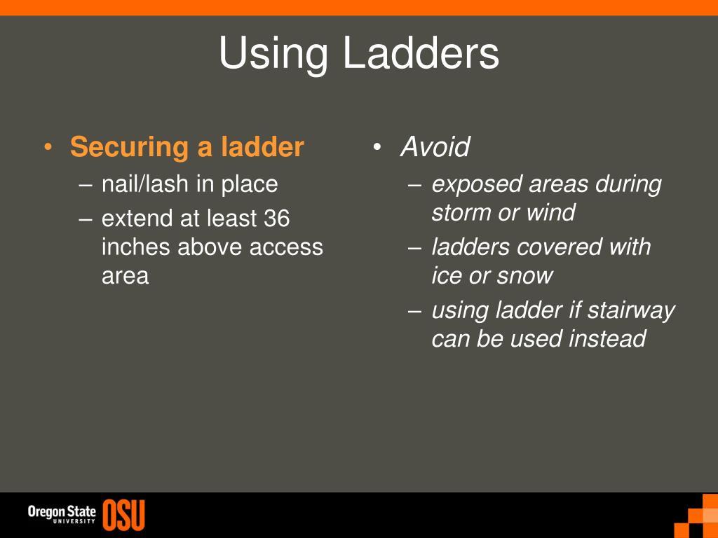 Securing a ladder