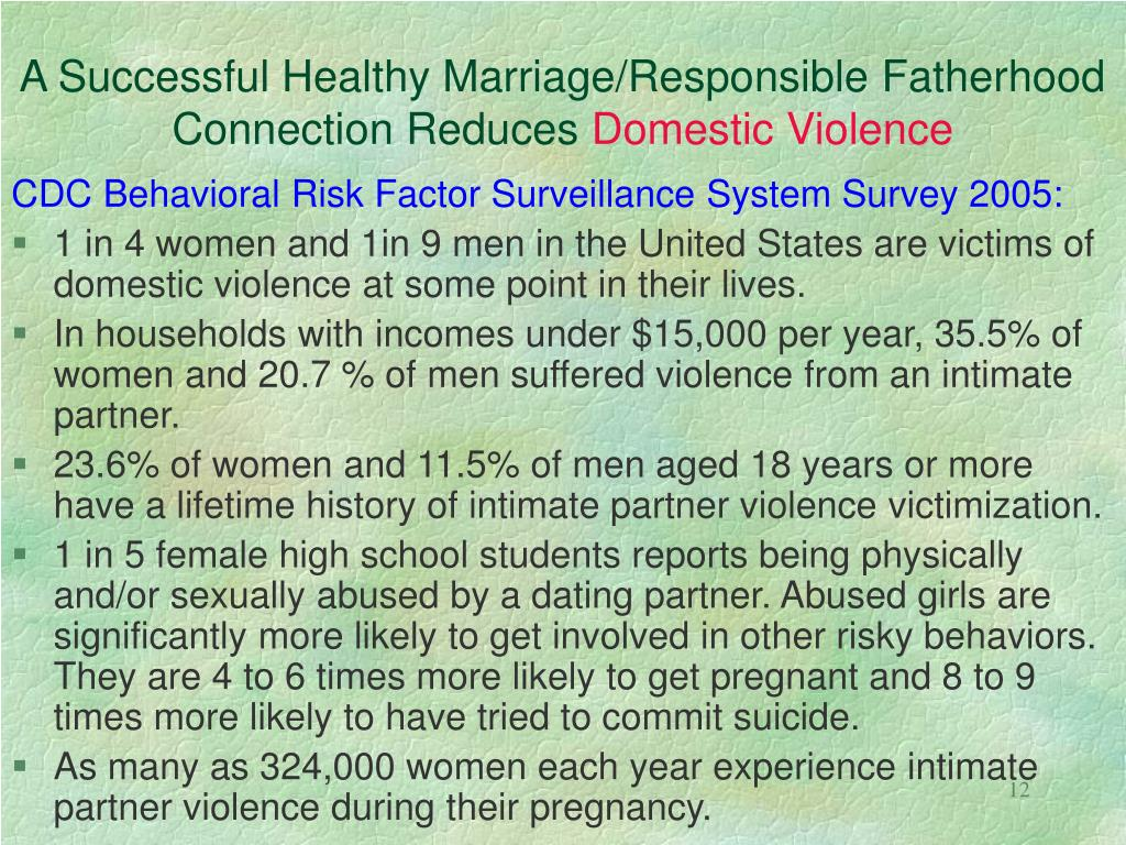 A Successful Healthy Marriage/Responsible Fatherhood Connection Reduces